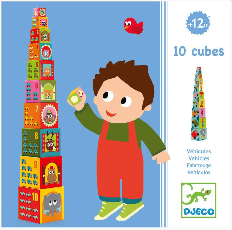 Djeco Vehicles Blocks Stacking Toy_Numbers Counting Cars Game