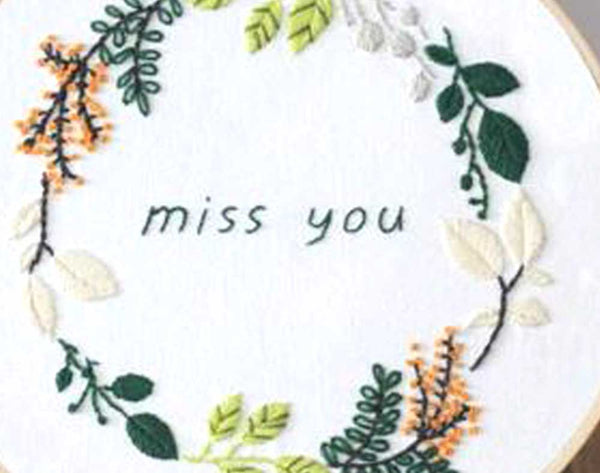 DIY Embroidery Kit, MISS YOU Quote, Starter Beginner Craft Sewing Kit Supply