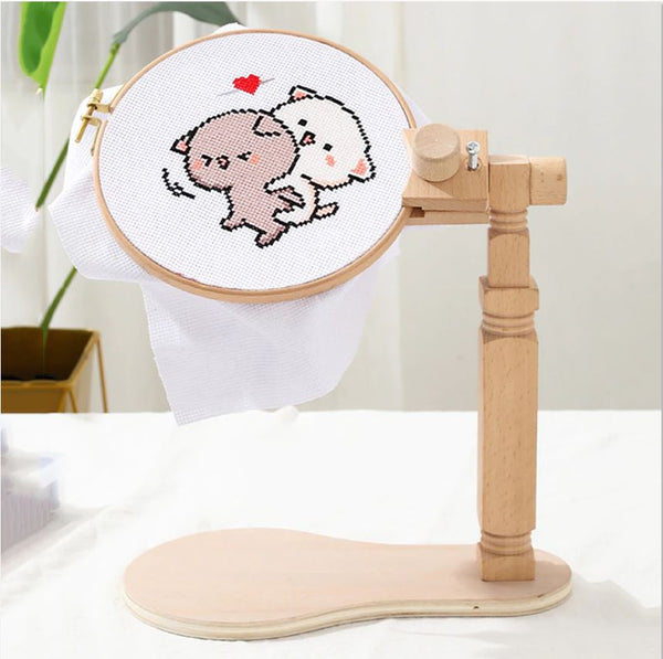Embroidery Hoop Holder Stand, Wooden Frame, Adjustable Rotatable, Cross Stitch Wood Sewing Craft Tool Kit