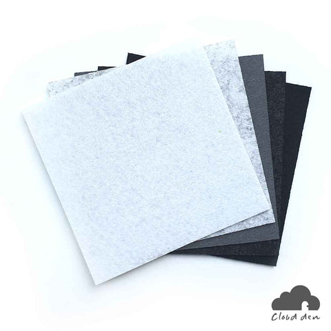 DIY Felt Fabric Paper_Grey Black White 1mm 5pc Kids Art Craft Supplies 10x10cm