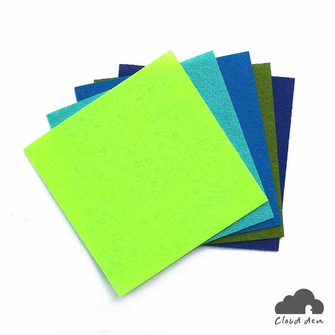DIY Felt Fabric Paper_Green Blue Mint 1mm 5pc Kids Art Craft Supplies 10x10cm