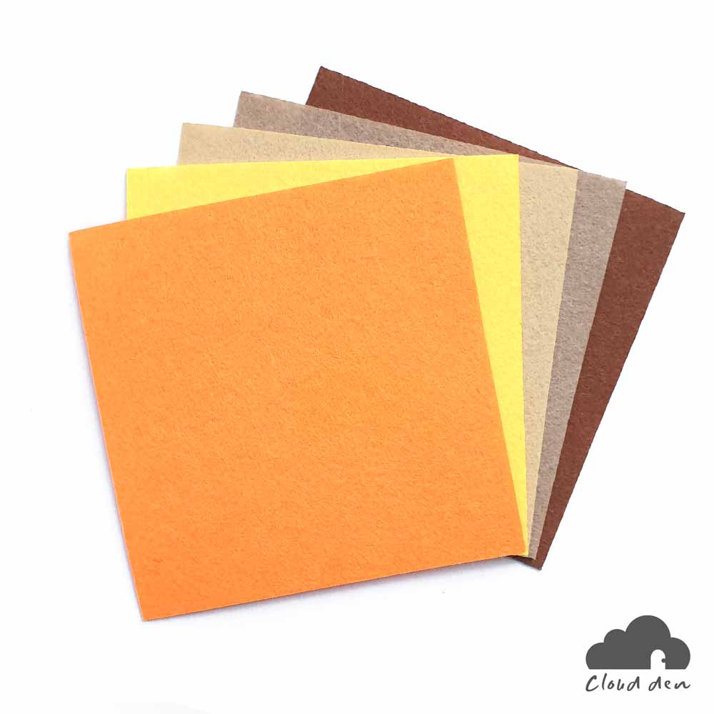 DIY Felt Fabric Paper_Yellow Orange Brown 1mm 5pc Kids Art Craft Supplies 10x10cm