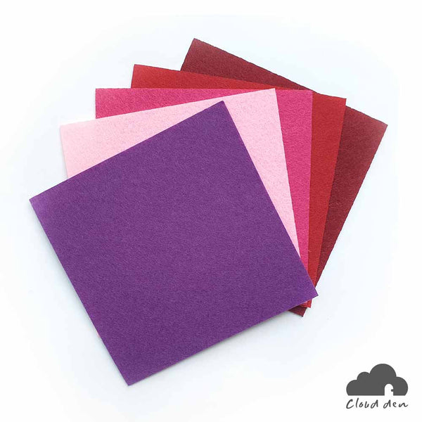 DIY Felt Fabric Paper_Pink Purple Red 1mm 5pc Kids Art Craft Supplies 10x10cm