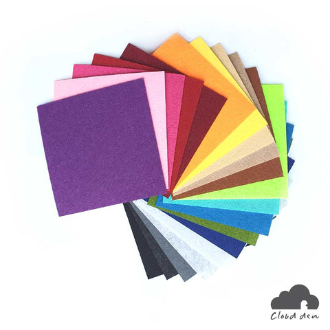 Felt Fabric Paper, 1mm 40pc 10x10cm, DIY Kids Craft Squares Supplies Kit, Multi Colour, Assorted