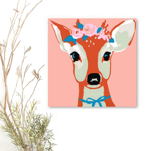 Paint By Numbers, DIY DEER FAWN Animal, Paint Kit for kids & adults, for beginner, Home Decor Art Craft Supplies