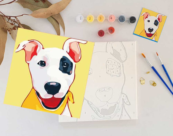 Paint By Numbers DIY DOG PUPPY Animal, Paint Kit for kids & adults, for beginner, Home Decor Art Craft Supplies