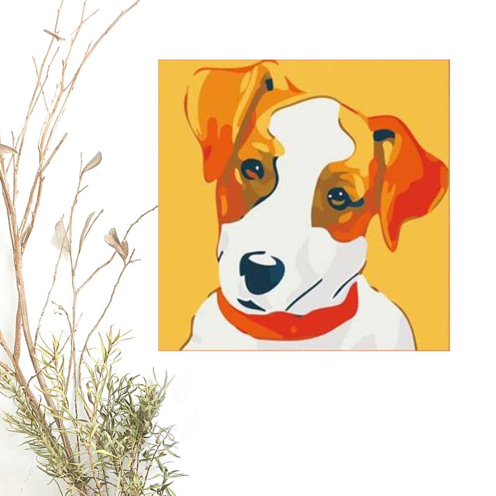 Paint By Numbers DOG Animal 2, DIY Paint Kit for kids & adults, for beginner, Jack Russell, Home Decor Art Craft Supplies