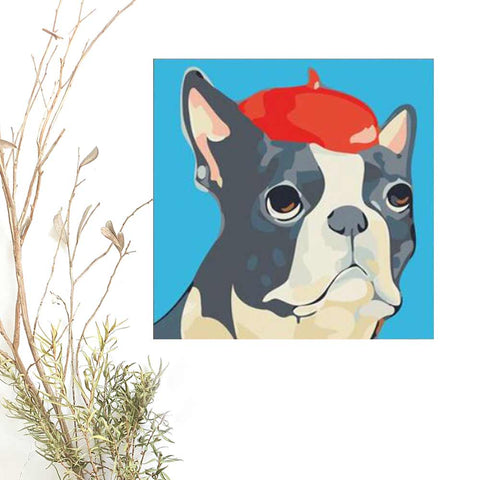 Paint By Numbers DOG Animal 4, DIY Paint Kit for kids & adults, for beginner, Bulldog, Home Decor Art Craft Supplies,