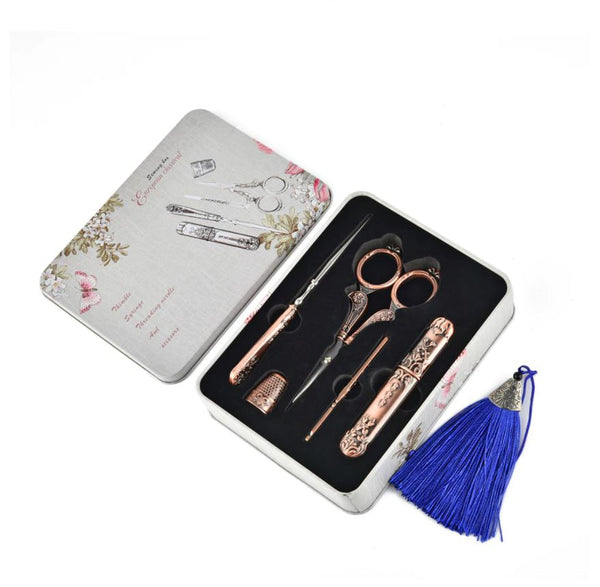 Embroidery Scissor Sewing Tool Kit, Vintage style gift, antique supplies set