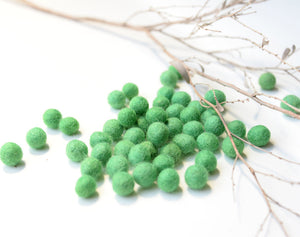 Green Felt Balls 1cm x50 Pom Poms. DIY Craft Supplies. Wool Kids Decor, Scrapbook, Beads