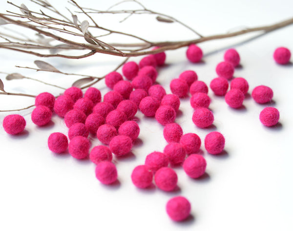 Pink Felt Balls 1cm x50 Pom Poms. DIY Craft Supplies. Wool Kids Decor, Scrapbook, Beads