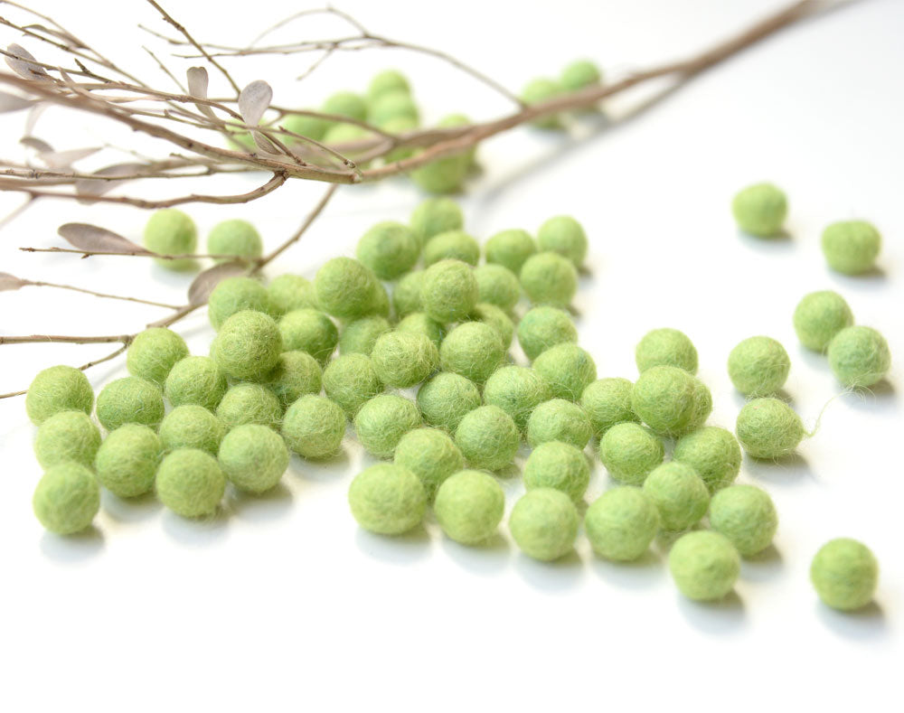 Lime Green Felt Balls 1cm x50 Pom Poms. DIY Craft Supplies. Wool Kids Decor, Scrapbook, Beads