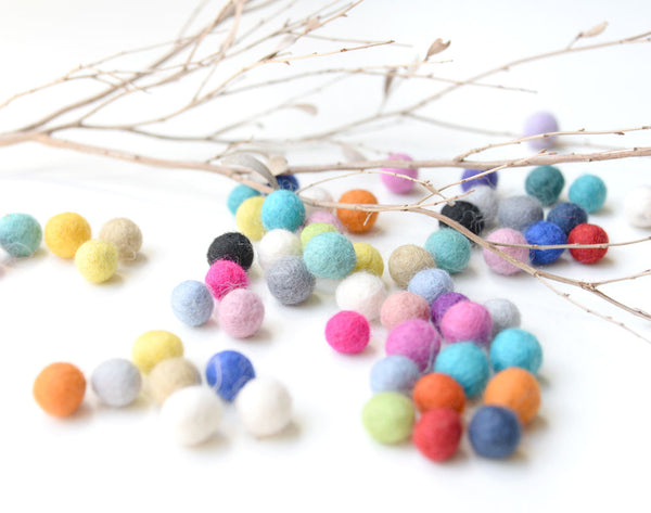 Light Blue Felt Balls 1cm x50 Pom Poms. DIY Craft Supplies. Wool Kids Decor, Scrapbook, Beads