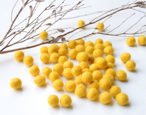 Mustard Yellow Felt Balls 1cm x50 Pom Poms. DIY Craft Supplies. Wool Kids Decor, Scrapbook, Beads