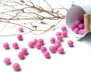Medium Pink Felt Balls 1cm x50 Pom Poms. DIY Craft Supplies. Wool Kids Decor, Scrapbook, Beads
