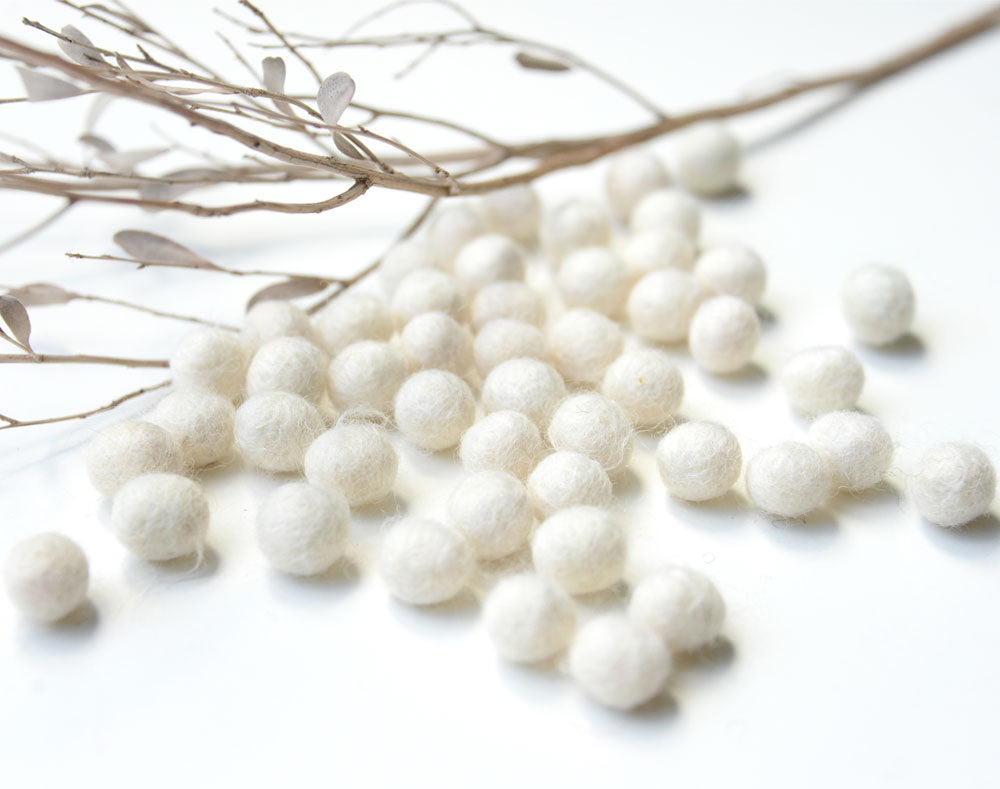 White Felt Balls 1cm x50 Pom Poms. DIY Craft Supplies. Wool Kids Decor, Scrapbook, Beads