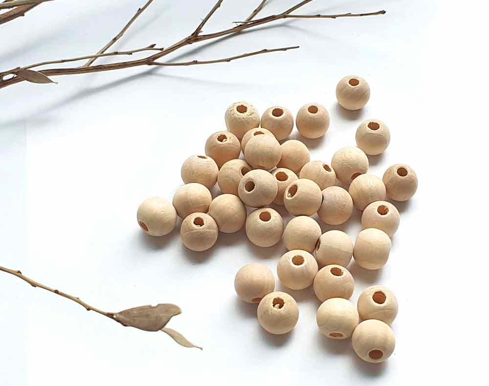 Natural Round Wooden Bead, 10mm x 50 Wood Balls, Jewellery Findings Supply