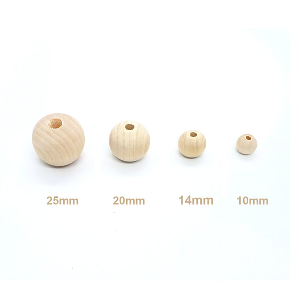 Natural Round Wooden Bead, 25mm x 50 Wood Balls, Jewellery Findings Supply