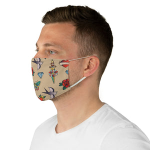 Tan With Traditional Tattoo Pattern Fabric Face Mask Printed Old School Style
