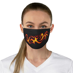 Tribal Flames in Red, Orange and Yellow on Printed Black Cloth Fabric Face Mask