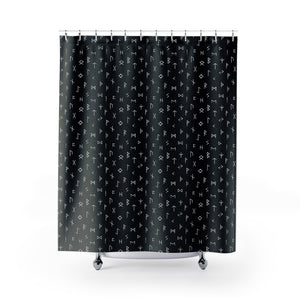 Black and White Norse Rune Pattern Shower Curtain