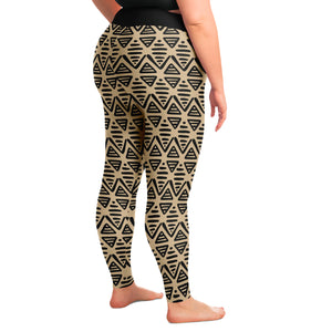 Tan and Black Ethnic Pattern Boho Aztec Style Plus Size Leggings 2X-6X Squat Proof