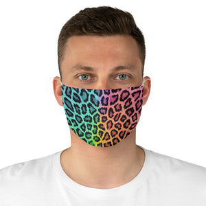 Rainbow Leopard Fabric Face Mask Printed Cloth Animal Print Bright Colors