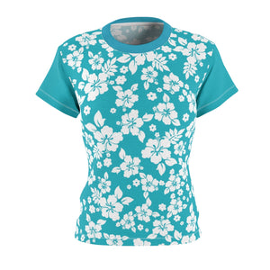Teal and White Hibiscus Hawaiian Pattern Women's Tee