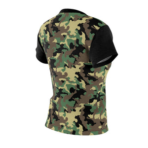 Camo Pattern Women's Tee Green, Brown and Black Camouflage With Contrast Sleeves