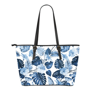 White With Blue Hibiscus Flowers and Leaves Hawaiian Tropical Tote Bag