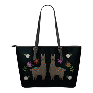 Llama Vegan Leather Tote Bags Chalky Boho Desert Style Design With Flowers