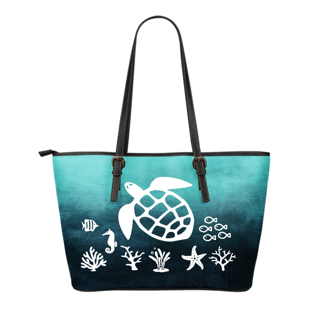 Sea Turtle Art Teal Blue Ombre Tote Bag Vegan Leather