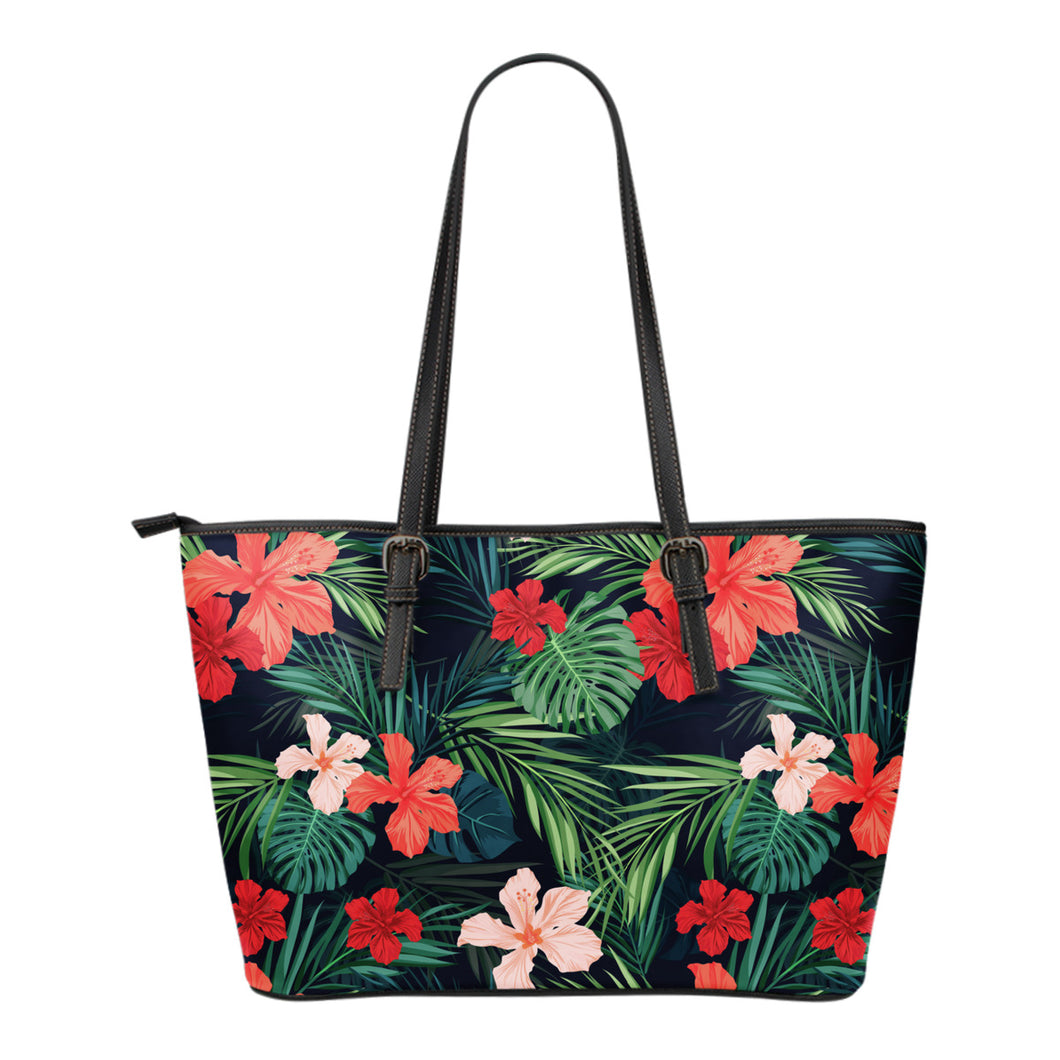 Pink Red and Coral Tropical Flowers Vegan Leather Tote Bag