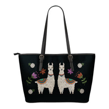 Load image into Gallery viewer, Llama Vegan Leather Tote Bags Chalky Boho Desert Style Design With Flowers