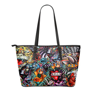 Tattoo Art Small Leather Tote