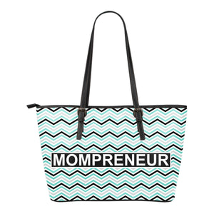 MOMPRENEUR Tote Bag Teal Chevron
