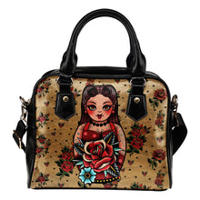Load image into Gallery viewer, Rockabilly Tattoo Style Rose Handbag Purse