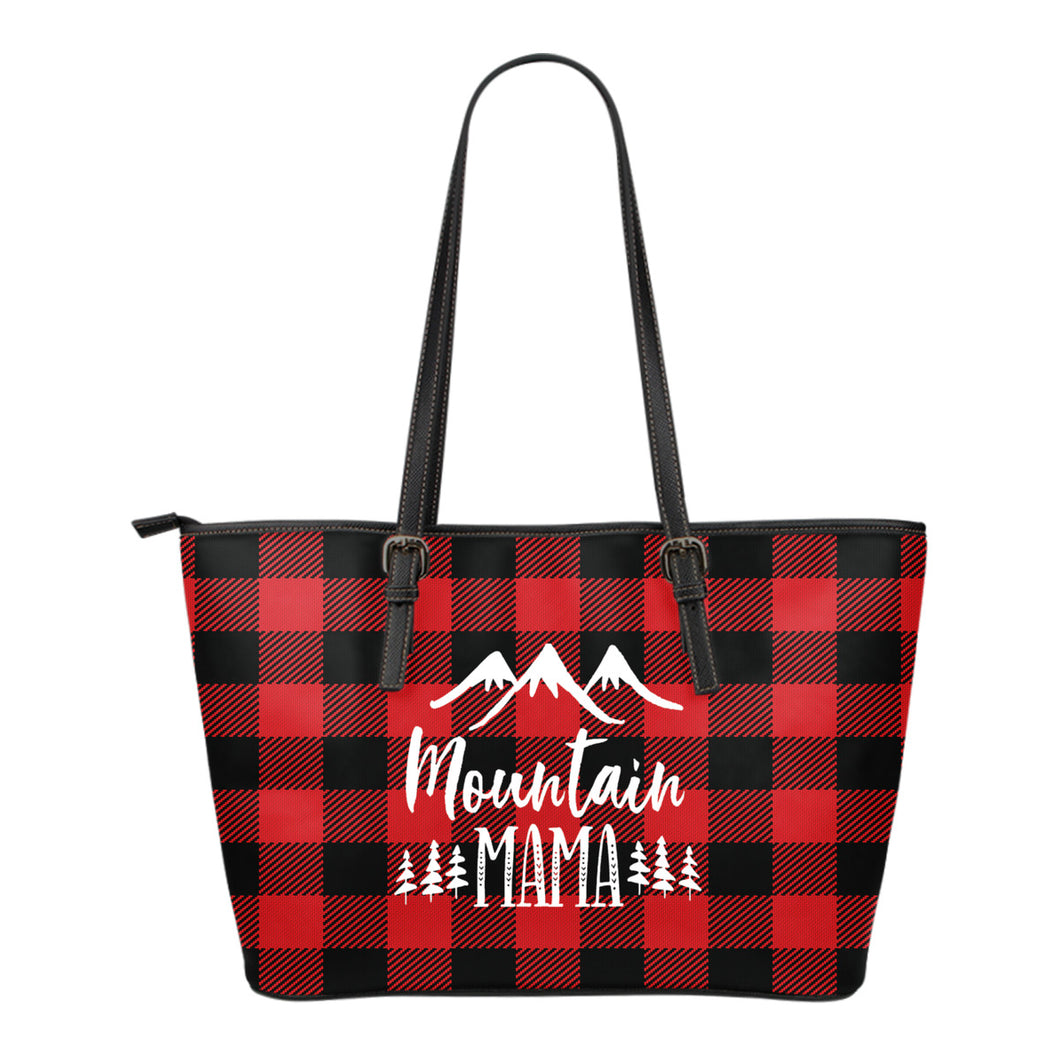 Mountain Mama Tote Bag Red Buffalo Plaid Check Pattern
