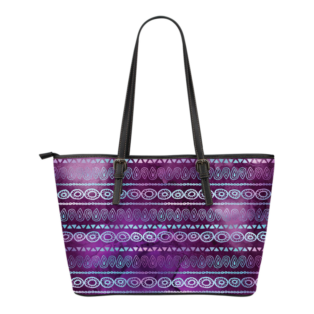 Purple Iridescent Boho Ethnic Pattern Tote Bag Vegan Leather Zipper Tote