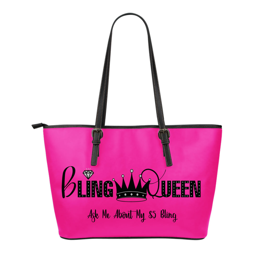 Bling Queen Vegan Leather Zipper Tote Bag Paparazzi Bling Bag Pink