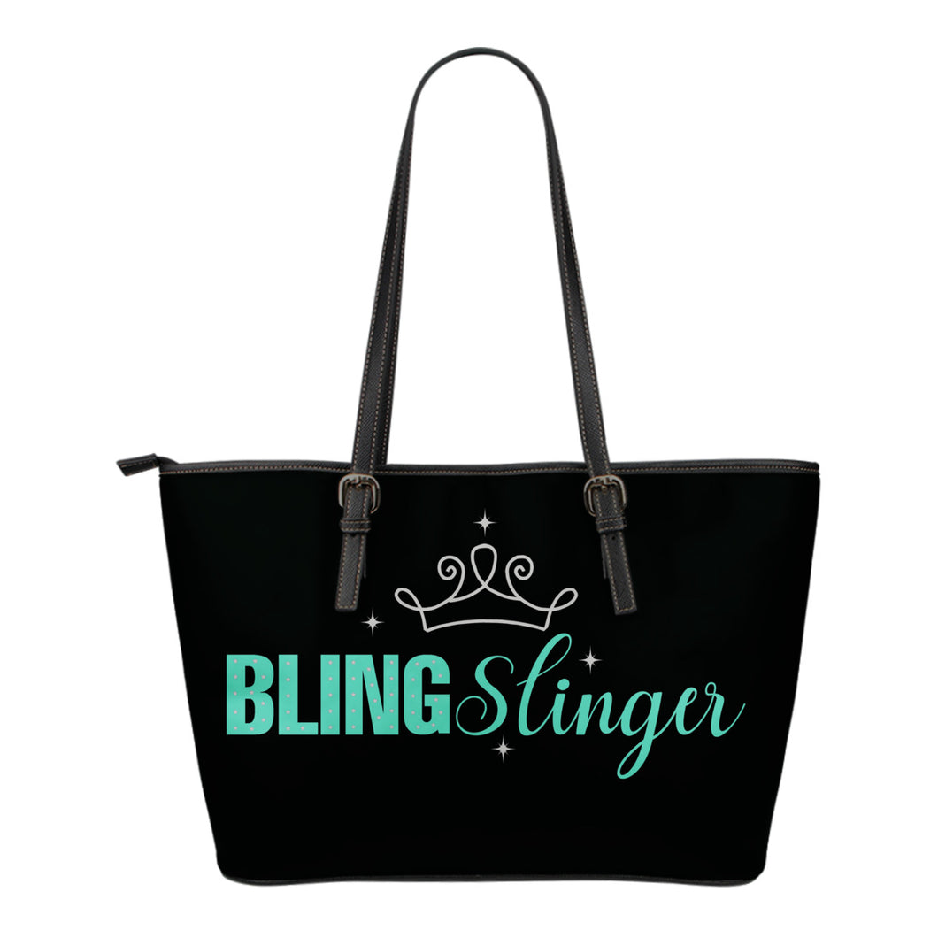 Bling Slinger Tote Bag Black and Teal