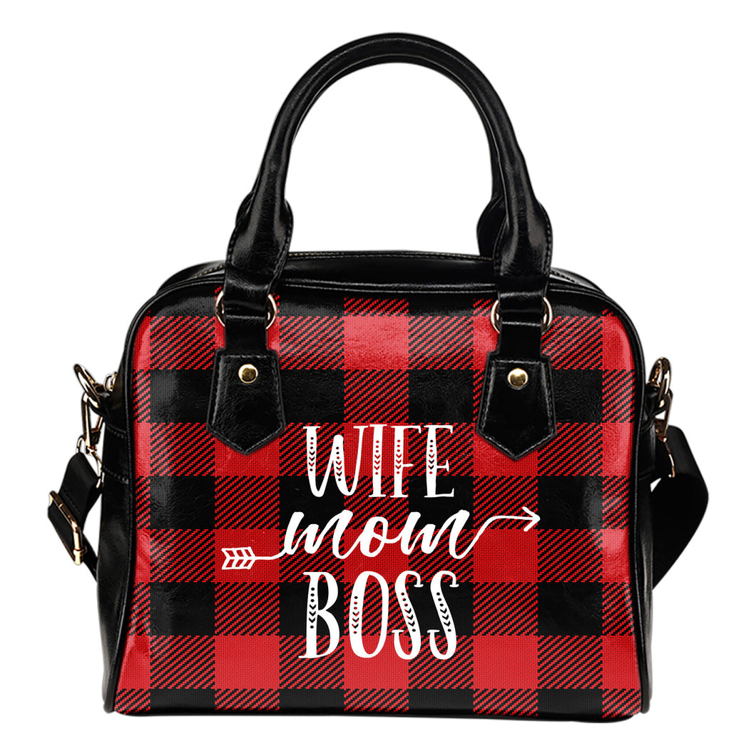 Wife Mom Boss Red Buffalo Plaid Handbag Shoulder Bag Purse