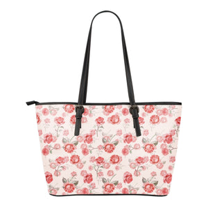 Pink and Red Rose Pattern Vegan Leather Tote Bag