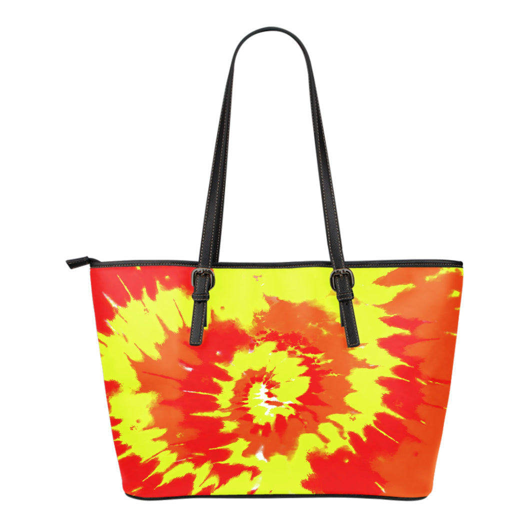 Red Orange and Yellow Tie Dye Vegan Leather Tote Bag