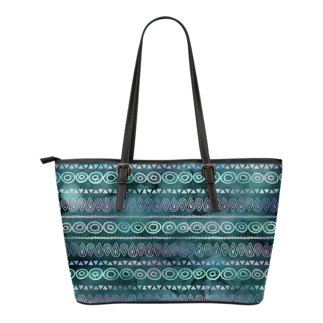 Boho Iridescent Tote Bag Vegan Leather Boho Chic Watercolor