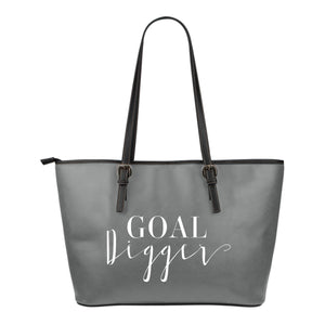 Goal Digger Tote Bags 6 Color Choices Vegan Leather Zipper Closure