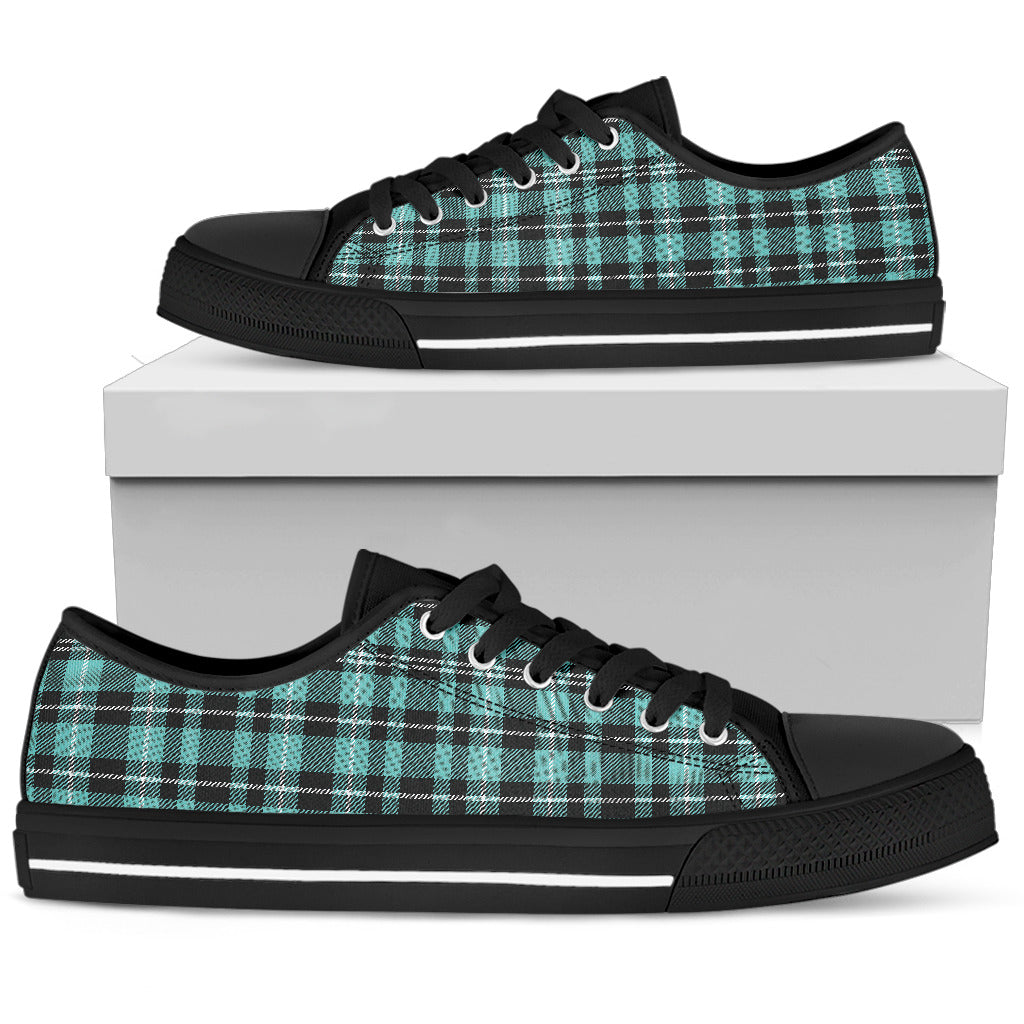 Turquoise Plaid Women's Low Top Canvas Sneaker