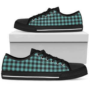Turquoise Buffalo Plaid Women's Low Top Canvas Sneaker Shoes