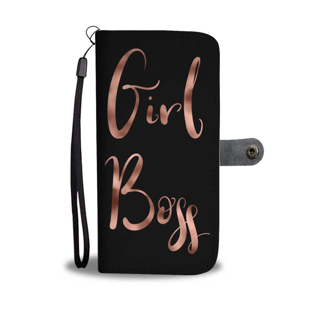 Girl Boss Phone Wallet Case Rose Gold