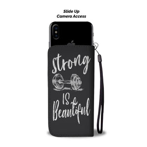 Strong Is Beautiful Weight Lifting Wallet Phone Case Chalk